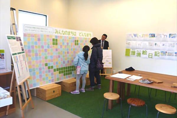 平成28年12月 さち小3年生が考えたまちづくりのアイデアを「みなまきのちょっとさき」にて展示。環境絵日記展も同時開催
